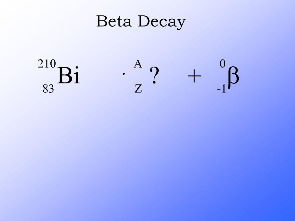 Bi 210 83 ? A Z +  0 Beta Decay