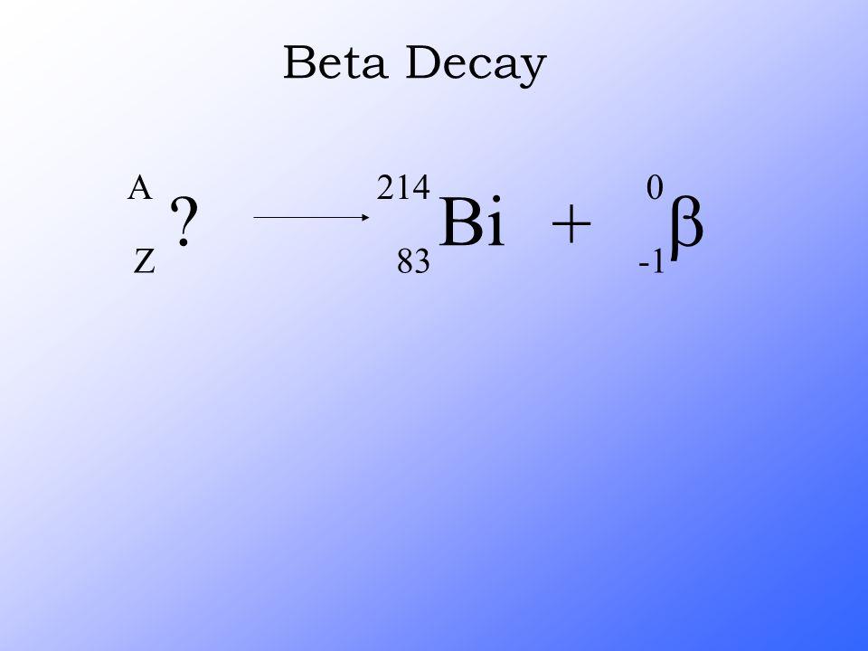 ? A Z Bi 214 83 +  0 Beta Decay
