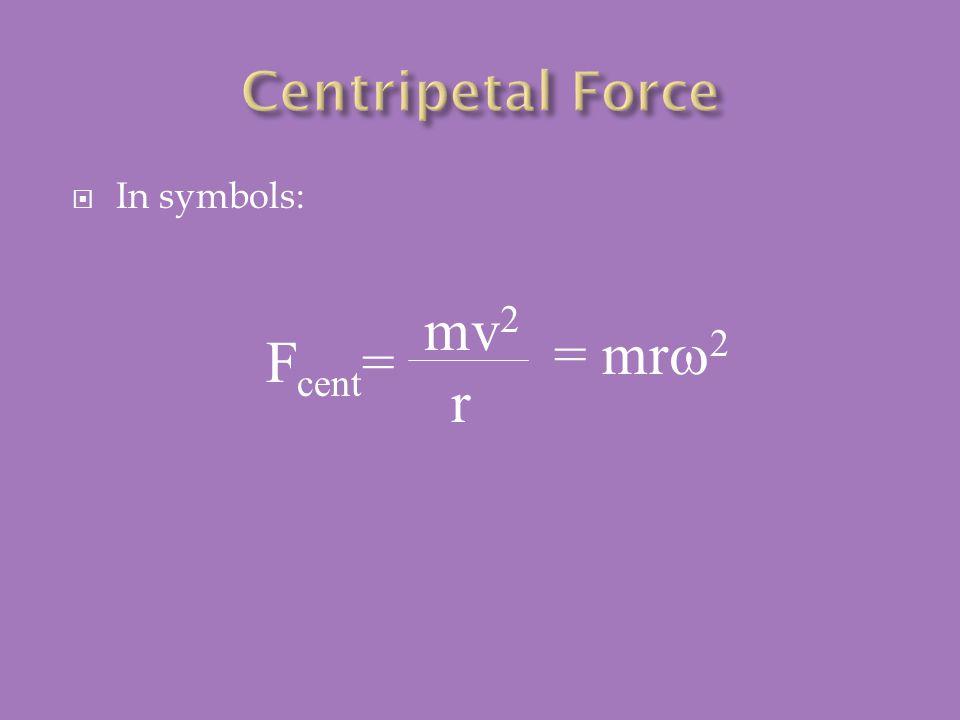  In symbols: F cent = mv 2 r = mr  2