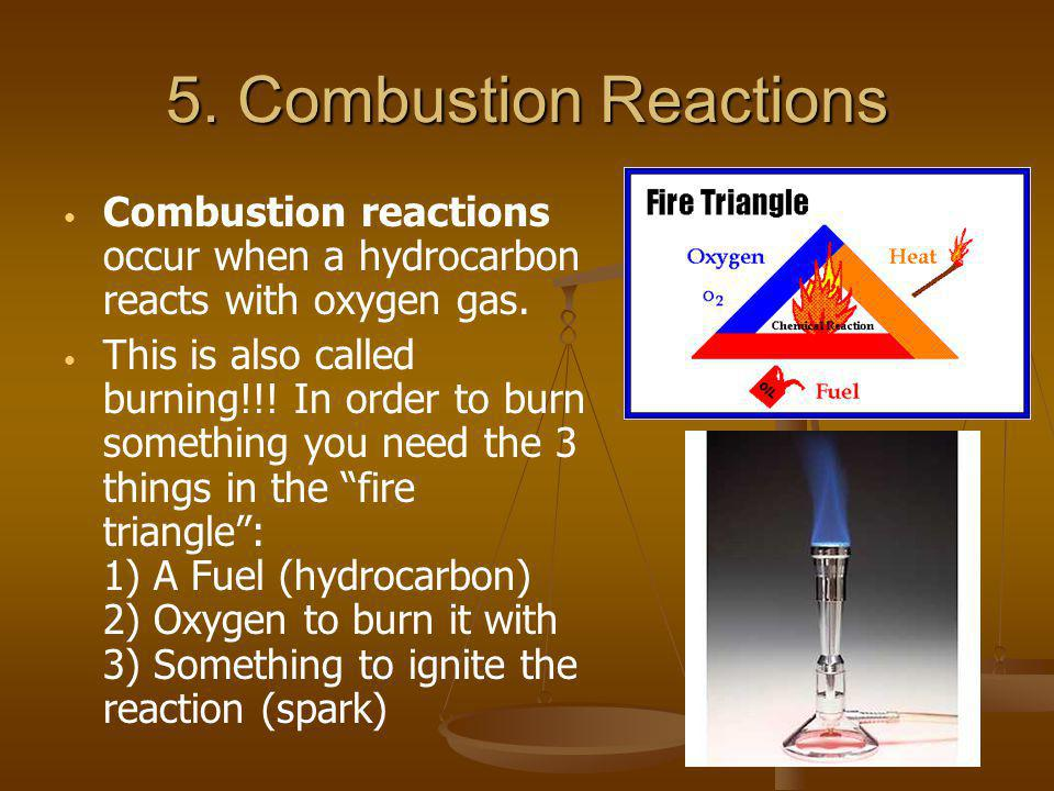 5. Combustion Reactions Combustion reactions occur when a hydrocarbon reacts with oxygen gas. This is also called burning!!! In order to burn somethin