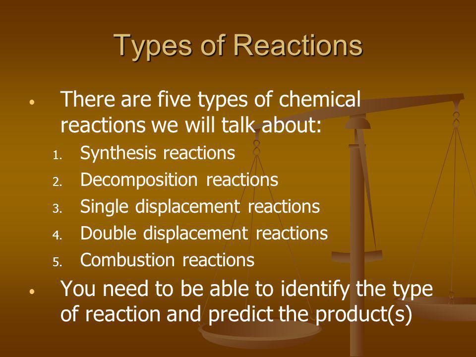 Types of Reactions There are five types of chemical reactions we will talk about: 1. 1. Synthesis reactions 2. 2. Decomposition reactions 3. 3. Single