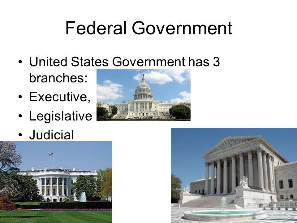 Federal Government United States Government has 3 branches: Executive, Legislative Judicial
