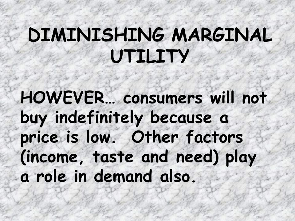 DIMINISHING MARGINAL UTILITY HOWEVER… consumers will not buy indefinitely because a price is low.