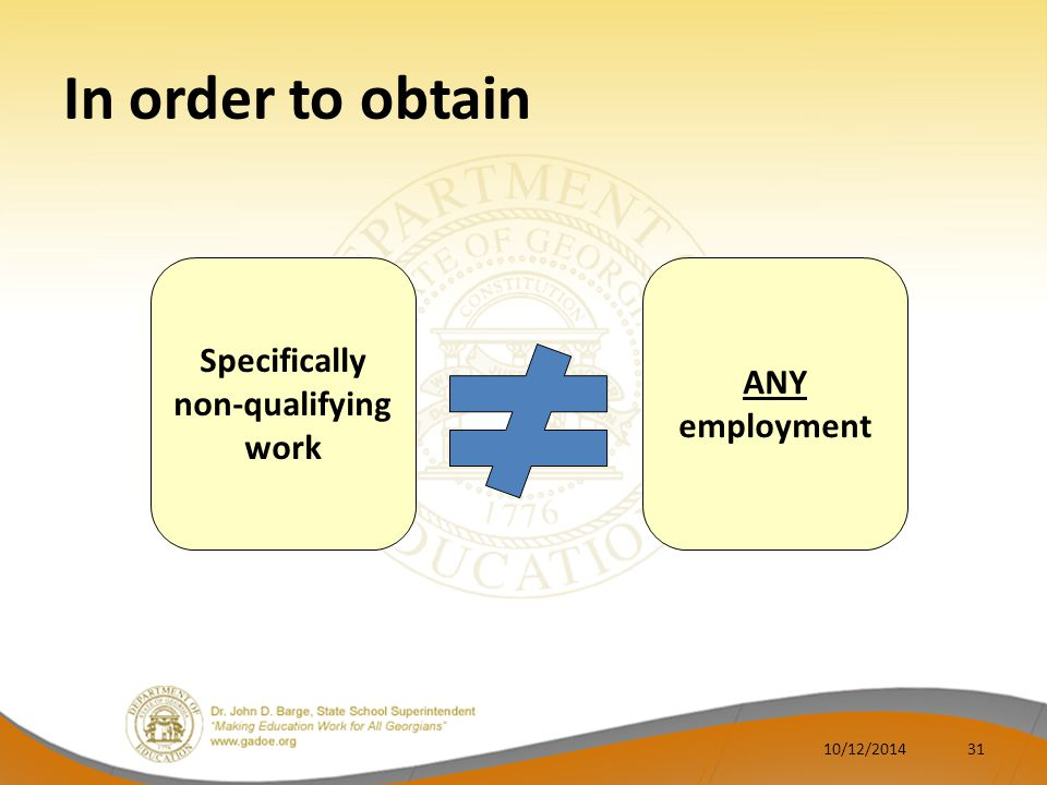 In order to obtain ANY employment Specifically non-qualifying work 3110/12/2014