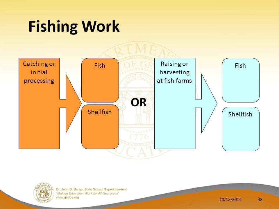 Fishing Work Catching or initial processing Fish Shellfish Raising or harvesting at fish farms Fish Shellfish OR 4810/12/2014