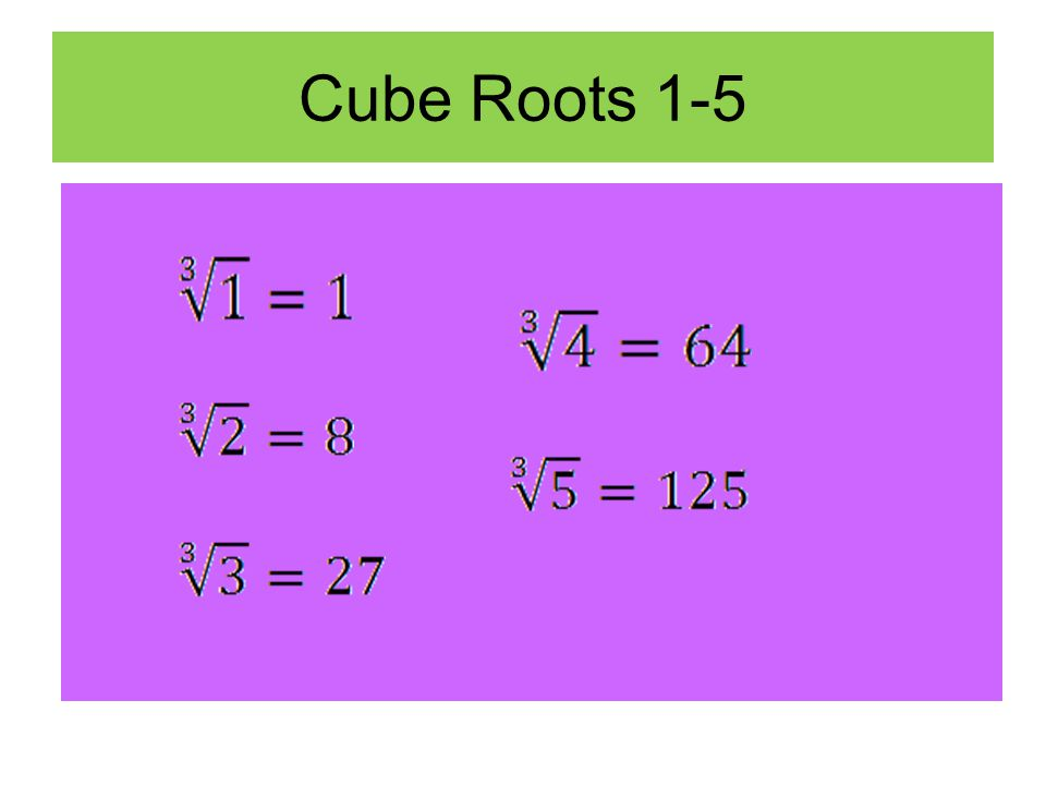 Cube Roots 1-5