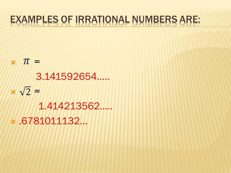  = 3.141592654…..  = 1.414213562….. .6781011132…
