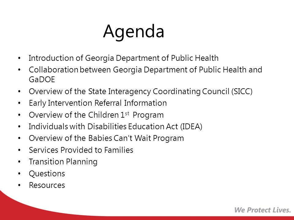 Georgia Department of Public Health Responsible for a Comprehensive Child Find System.