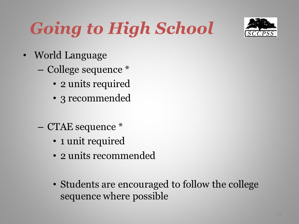 13 Going to High School World Language – College sequence * 2 units required 3 recommended – CTAE sequence * 1 unit required 2 units recommended Students are encouraged to follow the college sequence where possible 13