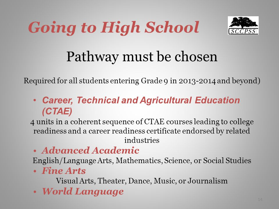 14 Going to High School Pathway must be chosen Required for all students entering Grade 9 in and beyond) Career, Technical and Agricultural Education (CTAE) 4 units in a coherent sequence of CTAE courses leading to college readiness and a career readiness certificate endorsed by related industries Advanced Academic English/Language Arts, Mathematics, Science, or Social Studies Fine Arts Visual Arts, Theater, Dance, Music, or Journalism World Language 14