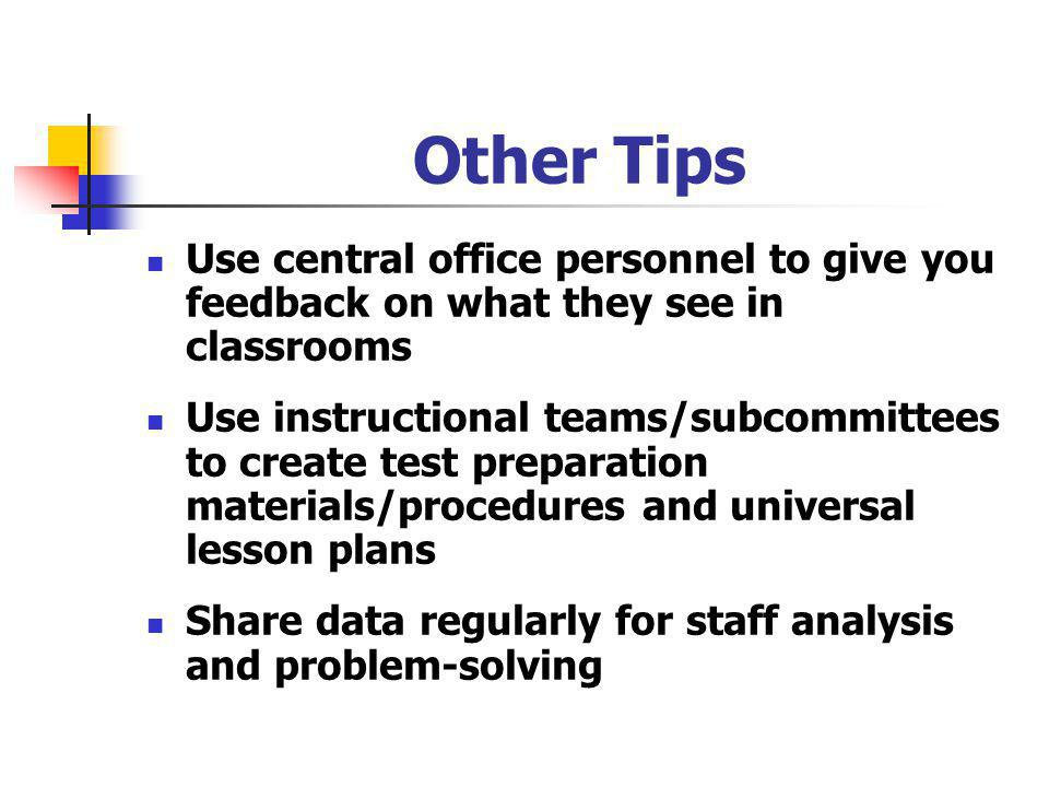 Other Tips Use central office personnel to give you feedback on what they see in classrooms Use instructional teams/subcommittees to create test preparation materials/procedures and universal lesson plans Share data regularly for staff analysis and problem-solving
