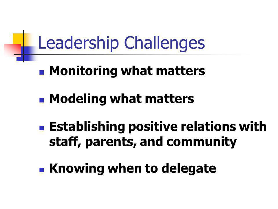 Leadership Challenges Monitoring what matters Modeling what matters Establishing positive relations with staff, parents, and community Knowing when to delegate