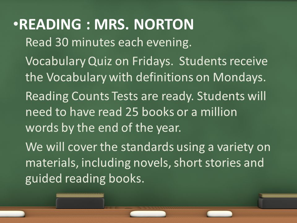 READING : MRS.NORTON Read 30 minutes each evening.