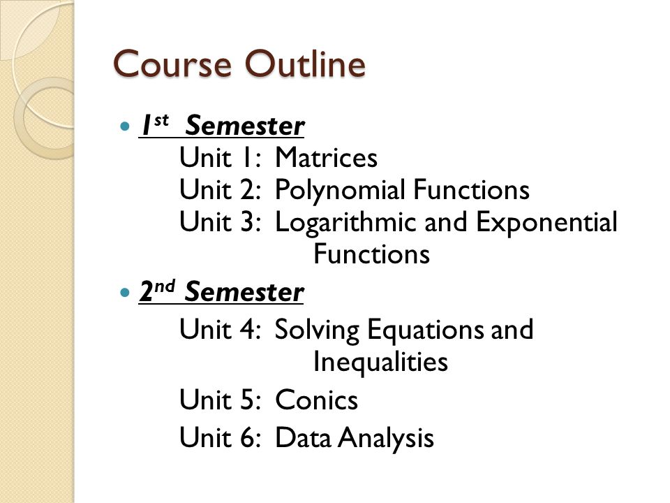 Course Outline 1 st Semester Unit 1: Matrices Unit 2: Polynomial Functions Unit 3: Logarithmic and Exponential Functions 2 nd Semester Unit 4: Solving