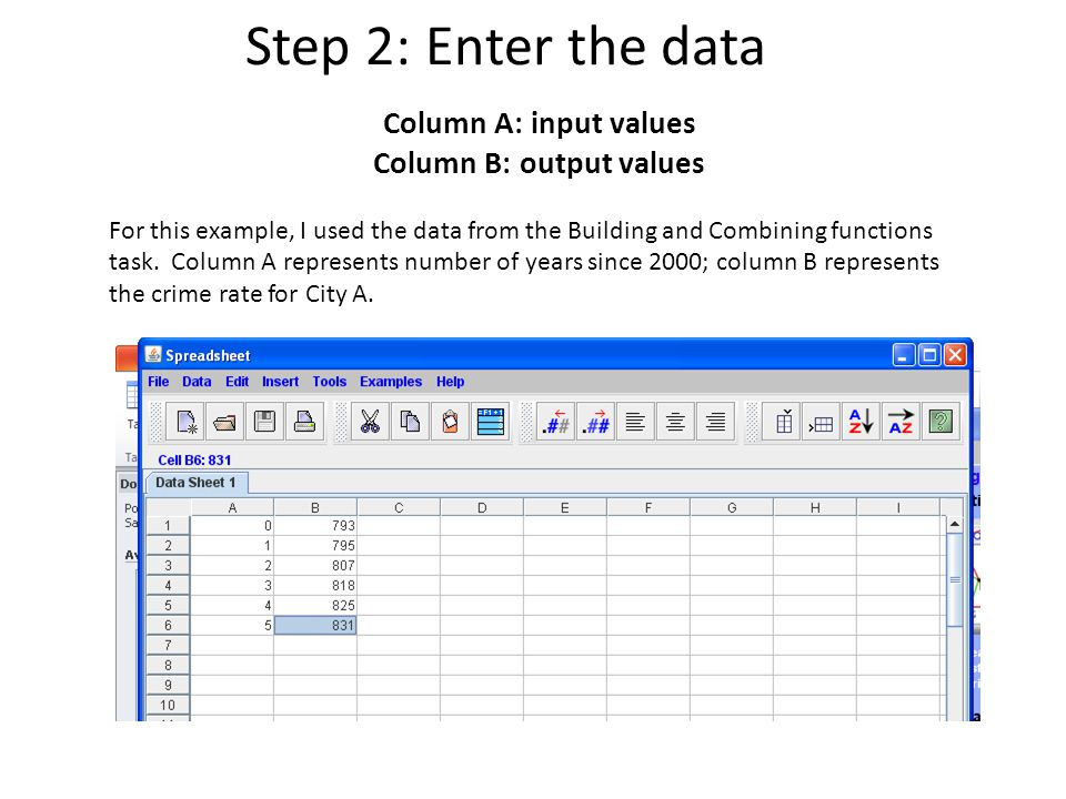 Step 2: Enter the data Column A: input values Column B: output values For this example, I used the data from the Building and Combining functions task