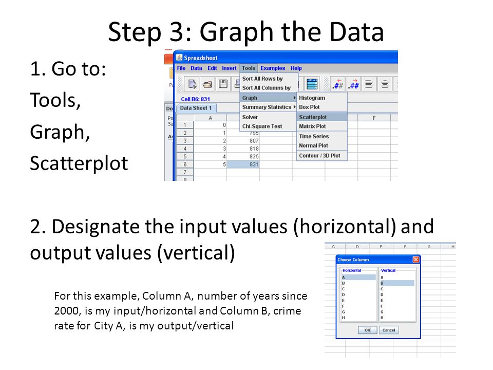 Step 3: Graph the Data 1. Go to: Tools, Graph, Scatterplot 2. Designate the input values (horizontal) and output values (vertical) For this example, C