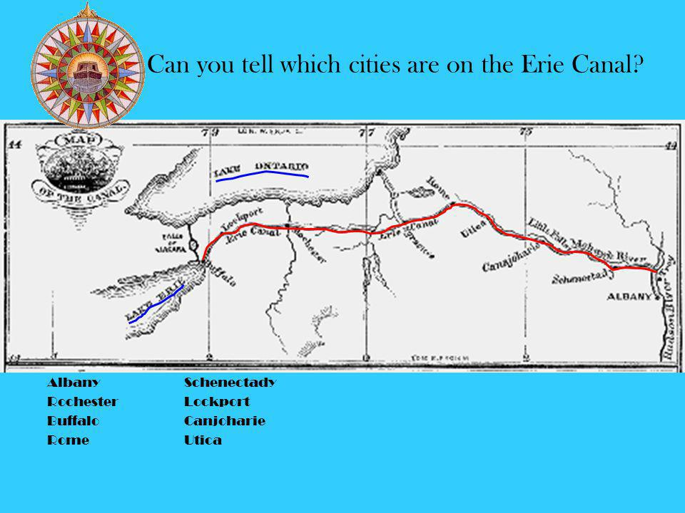1825 October 26, the first passage through canal from Lake Erie to New York City. 363 Miles in length, 40 feet wide, 4 feet deep, max displacement 75