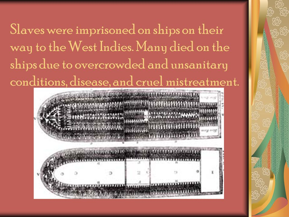 Slaves were imprisoned on ships on their way to the West Indies.