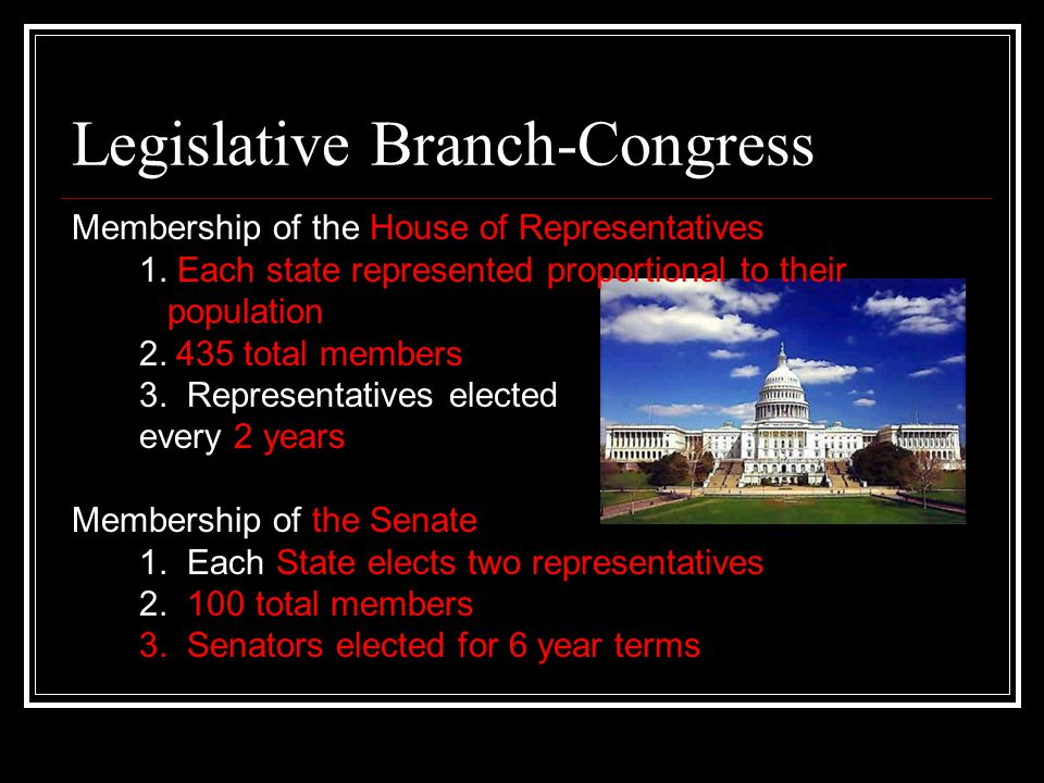 Legislative Branch-Congress Membership of the House of Representatives 1. Each state represented proportional to their population 2.435 total members