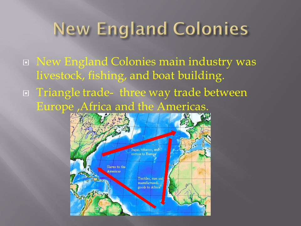  New England Colonies main industry was livestock, fishing, and boat building.  Triangle trade- three way trade between Europe,Africa and the Americ