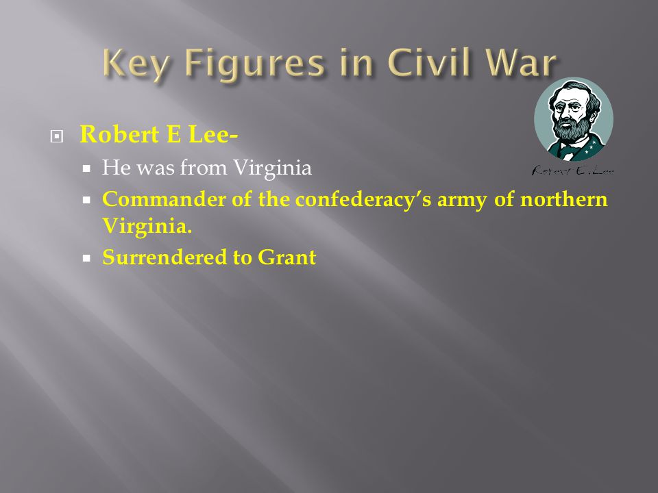  Robert E Lee-  He was from Virginia  Commander of the confederacy's army of northern Virginia.  Surrendered to Grant