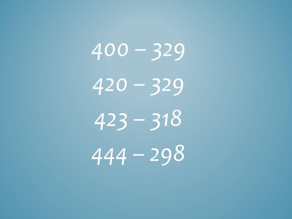 400 – 329 420 – 329 423 – 318 444 – 298