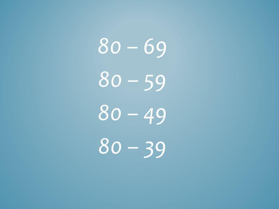 80 – 69 80 – 59 80 – 49 80 – 39