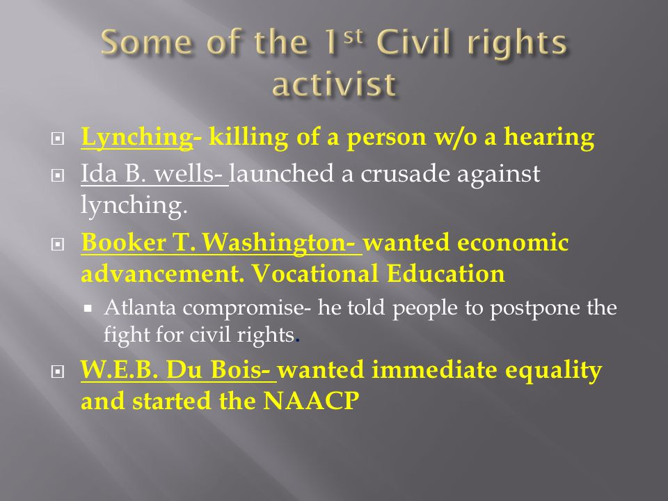  Lynching- killing of a person w/o a hearing  Ida B. wells- launched a crusade against lynching.  Booker T. Washington- wanted economic advancement