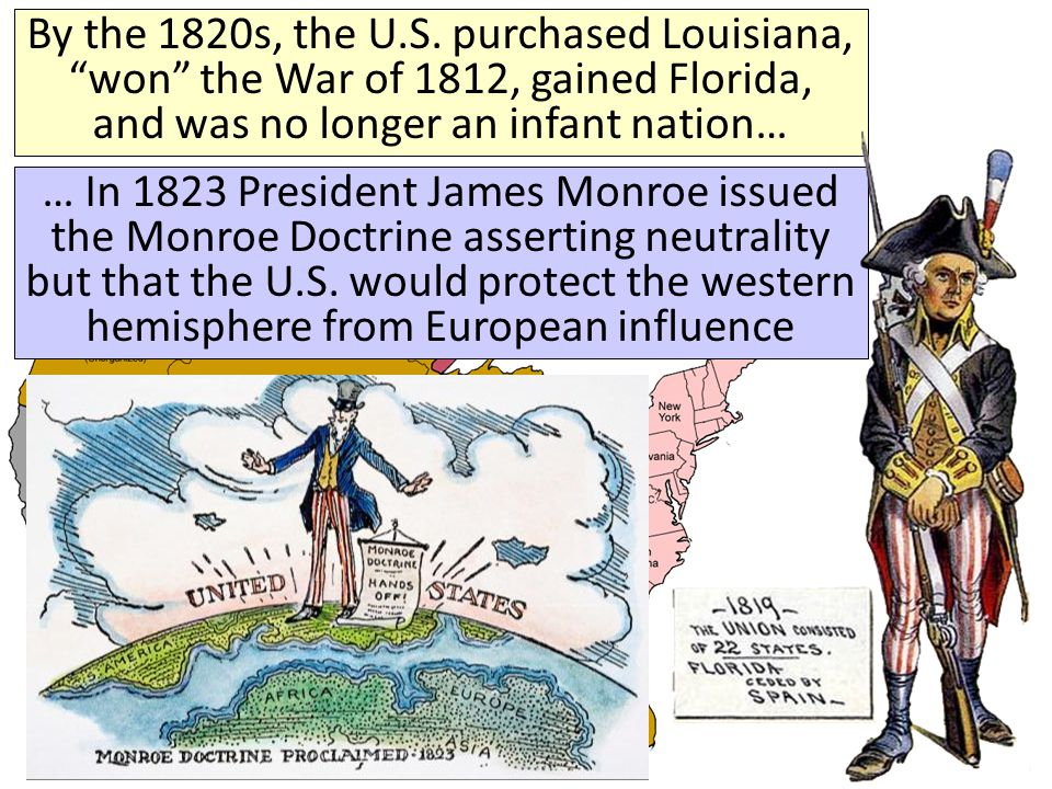 In the 1840s, President James Polk used an aggressive foreign policy (including treaties, purchases, and war with Mexico) to gain all lands to the Pacific Ocean and fulfill America's Manifest Destiny