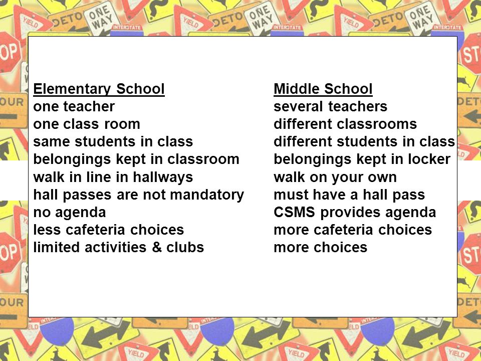 5 Elementary SchoolMiddle School one teacherseveral teachers one class roomdifferent classrooms same students in classdifferent students in class belongings kept in classroombelongings kept in locker walk in line in hallwayswalk on your own hall passes are not mandatorymust have a hall pass no agendaCSMS provides agenda less cafeteria choicesmore cafeteria choices limited activities & clubsmore choices