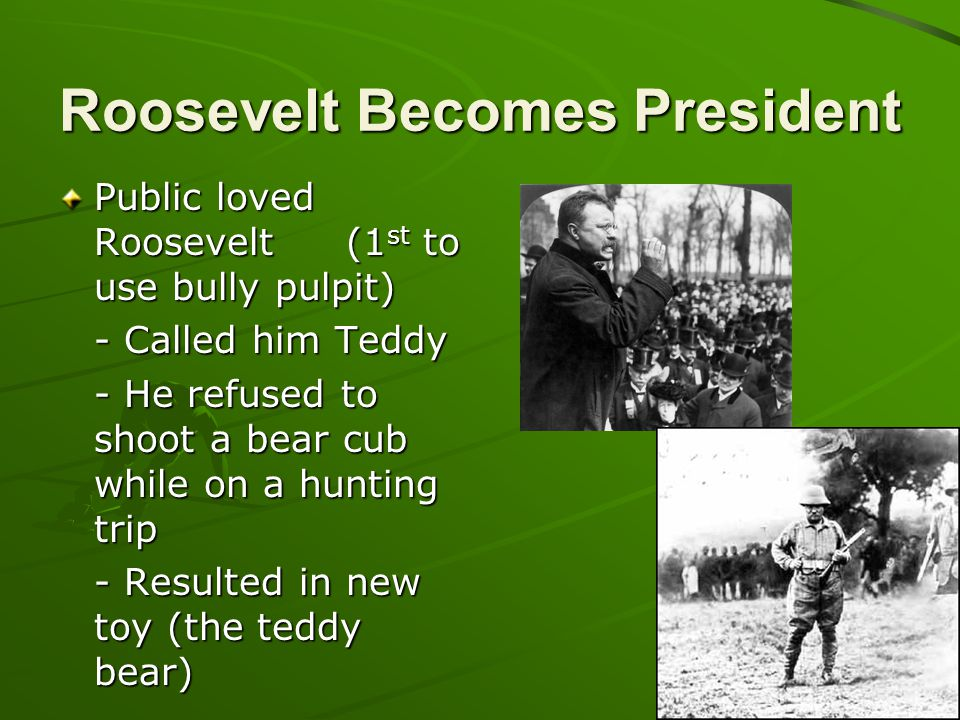 Roosevelt Becomes President Public loved Roosevelt(1 st to use bully pulpit) - Called him Teddy - He refused to shoot a bear cub while on a hunting tr