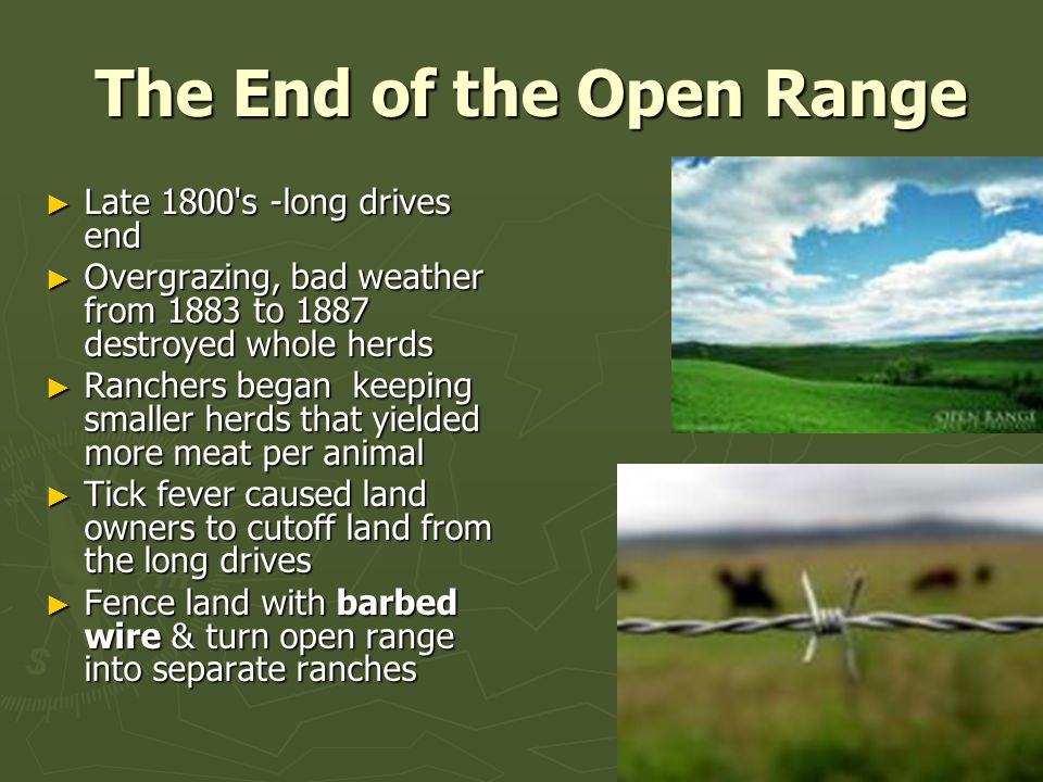 The End of the Open Range The End of the Open Range ► Late 1800 s -long drives end ► Overgrazing, bad weather from 1883 to 1887 destroyed whole herds ► Ranchers began keeping smaller herds that yielded more meat per animal ► Tick fever caused land owners to cutoff land from the long drives ► Fence land with barbed wire & turn open range into separate ranches
