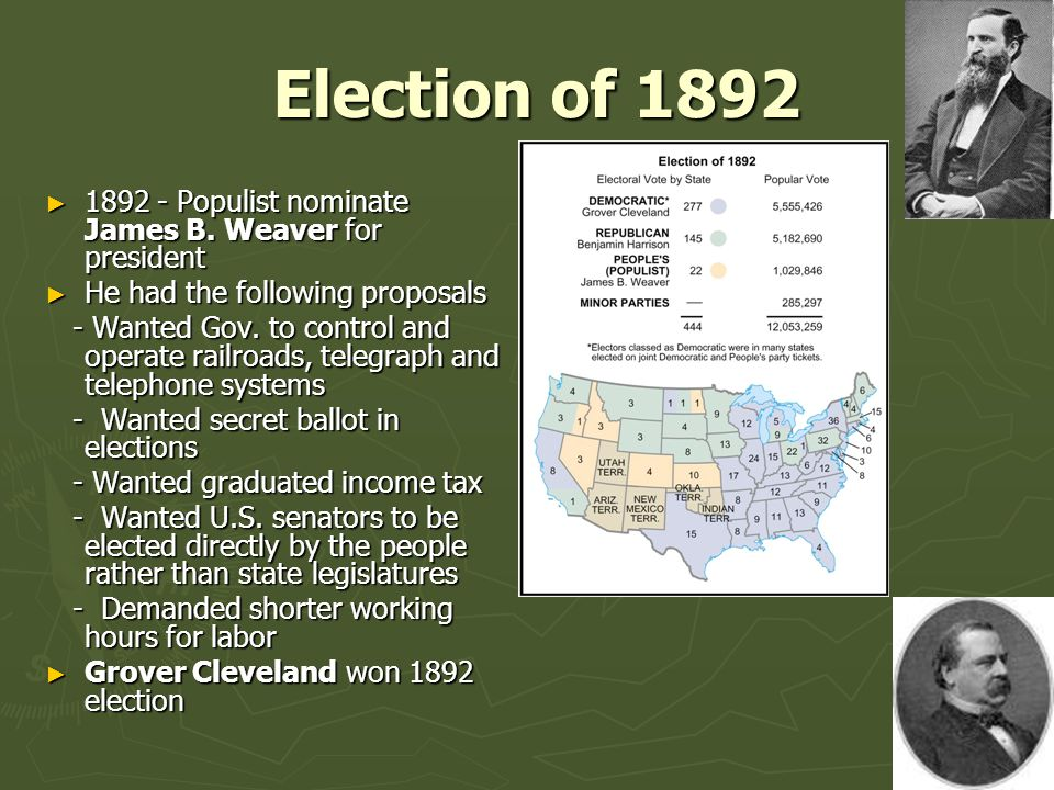 Election of 1892 Election of 1892 ► 1892 - Populist nominate James B.