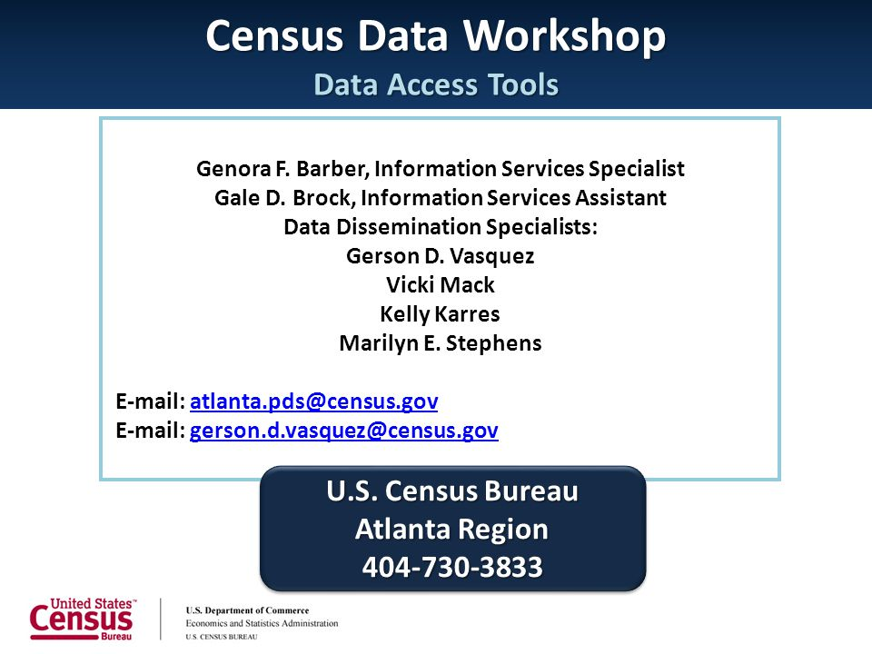 Census Data Workshop Data Access Tools Genora F. Barber, Information Services Specialist Gale D. Brock, Information Services Assistant Data Disseminat