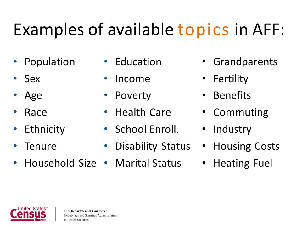 Examples of available topics in AFF: Population Sex Age Race Ethnicity Tenure Household Size Education Income Poverty Health Care School Enroll. Disab