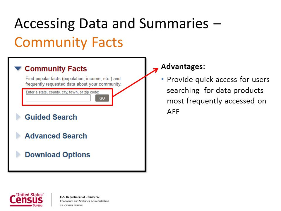 Accessing Data and Summaries – Community Facts Advantages: Provide quick access for users searching for data products most frequently accessed on AFF