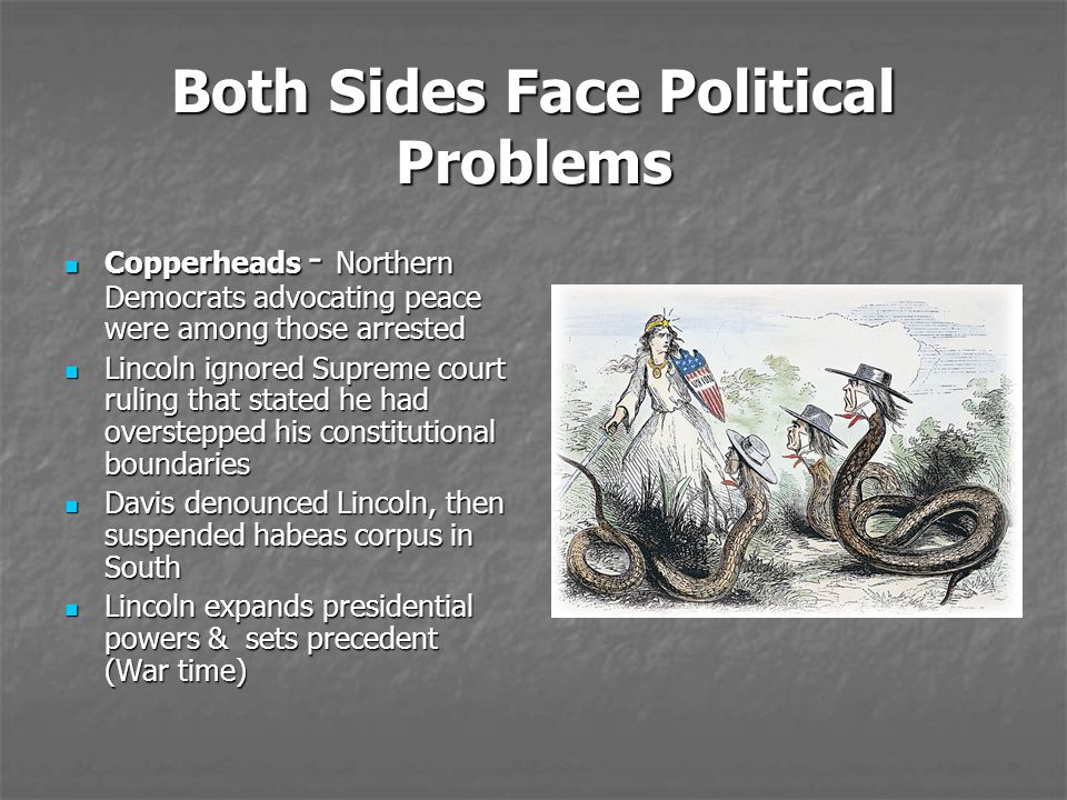 Both Sides Face Political Problems Copperheads - Northern Democrats advocating peace were among those arrested Copperheads - Northern Democrats advoca