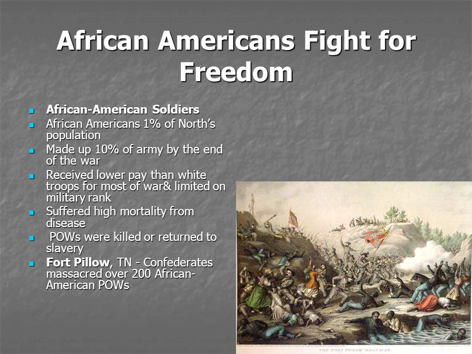 African Americans Fight for Freedom African-American Soldiers African-American Soldiers African Americans 1% of North's population African Americans 1