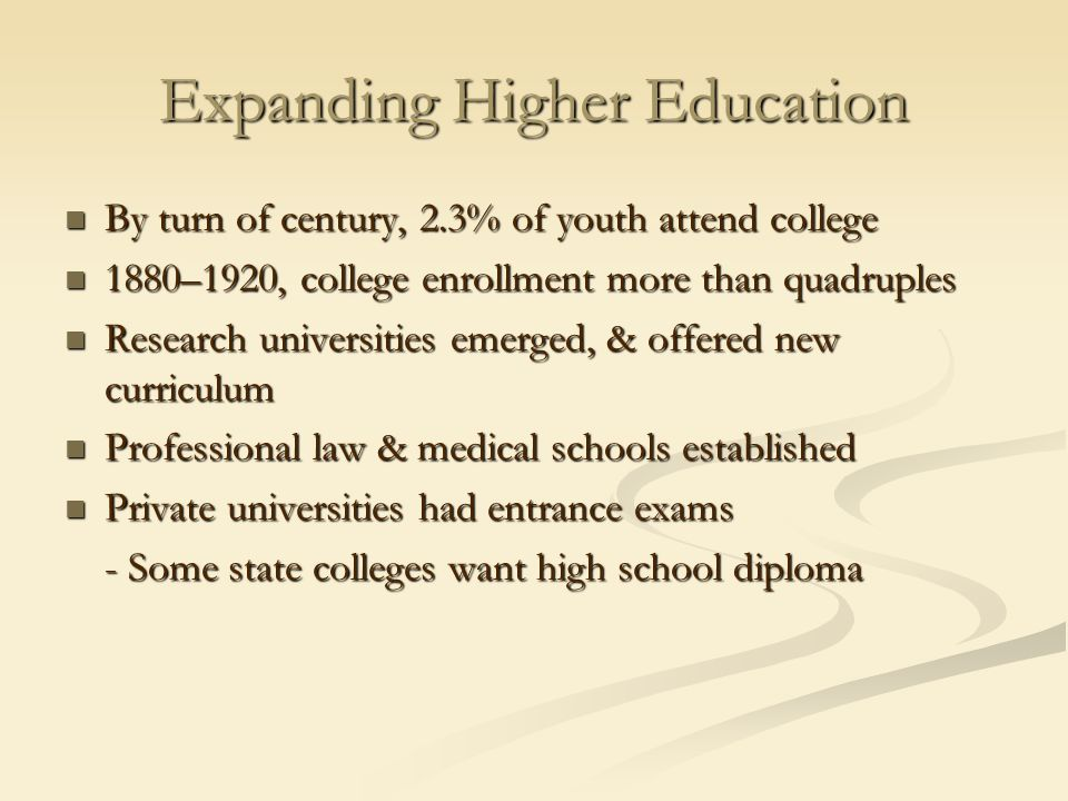 Expanding Higher Education By turn of century, 2.3% of youth attend college By turn of century, 2.3% of youth attend college 1880–1920, college enroll