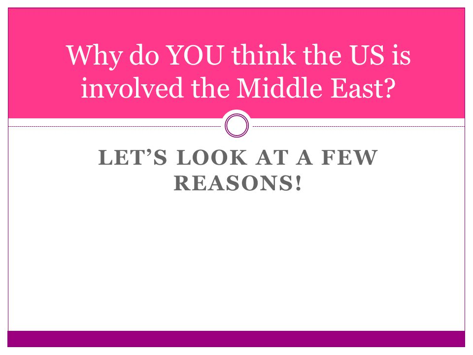 LET'S LOOK AT A FEW REASONS! Why do YOU think the US is involved the Middle East?