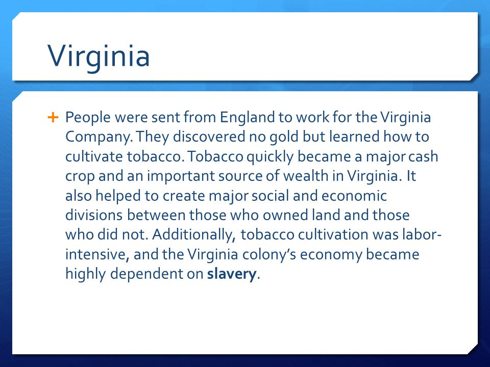 Virginia  People were sent from England to work for the Virginia Company. They discovered no gold but learned how to cultivate tobacco. Tobacco quick
