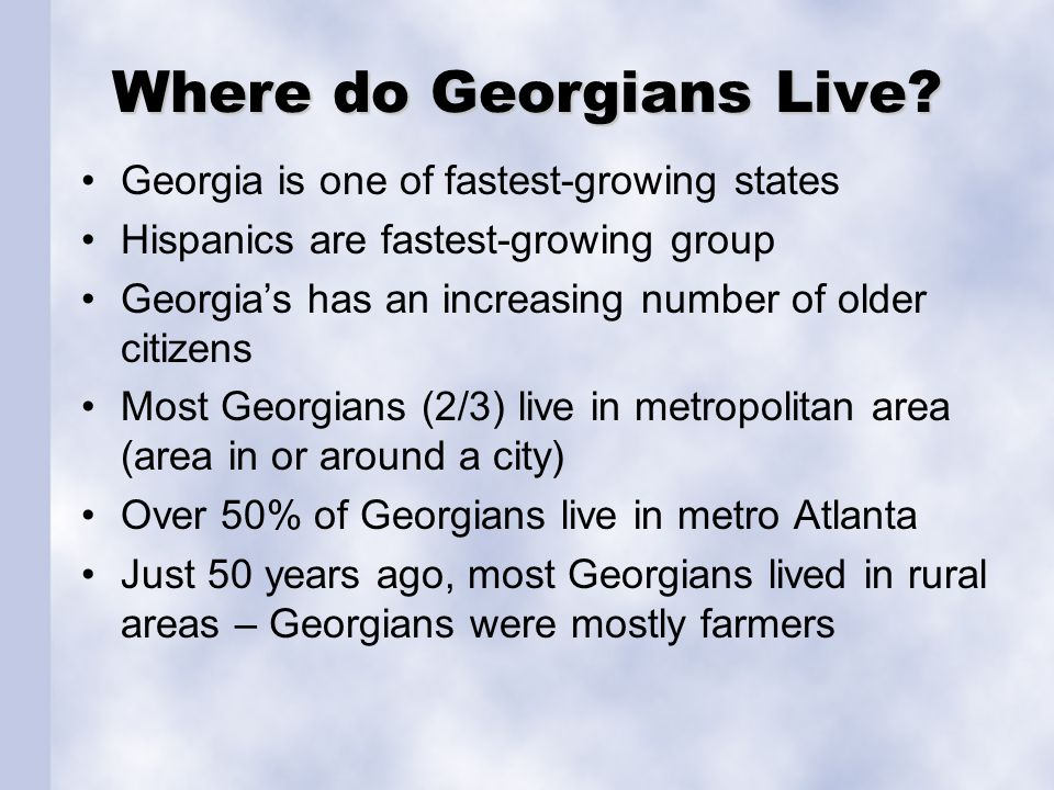 Where do Georgians Live.