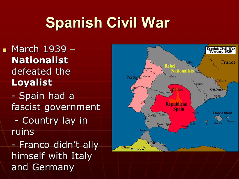 Spanish Civil War March 1939 – Nationalist defeated the Loyalist March 1939 – Nationalist defeated the Loyalist - Spain had a fascist government - Cou