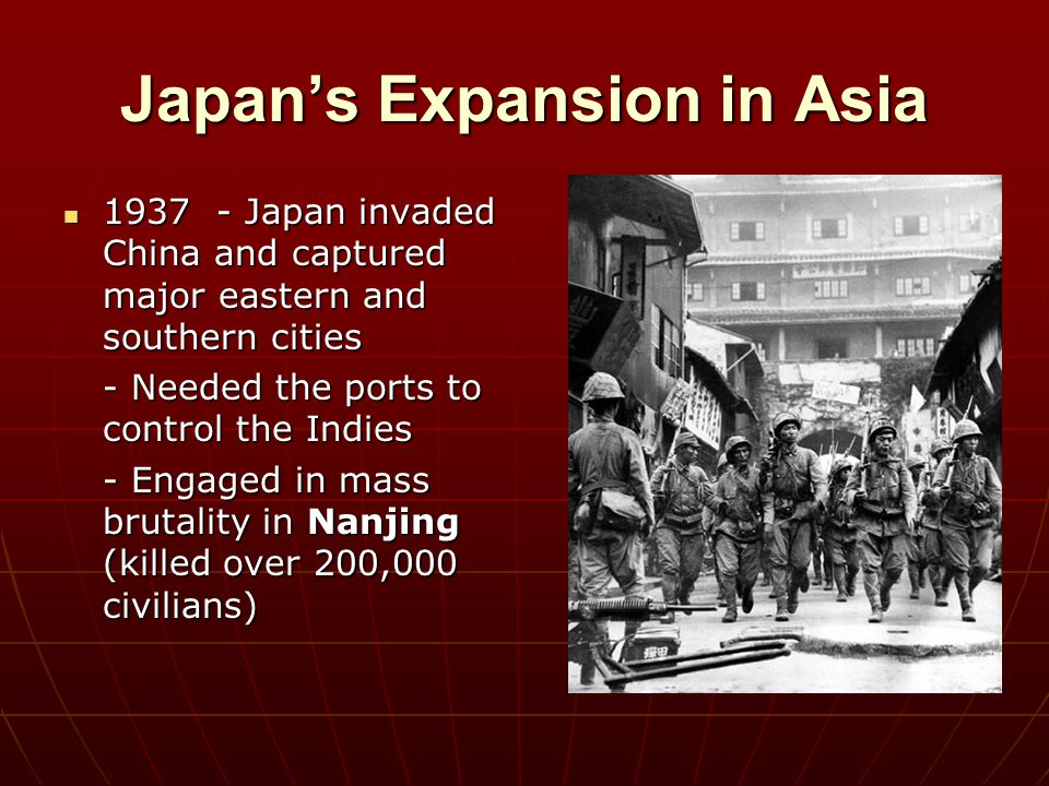 Japan's Expansion in Asia Nationalist government of Chiang Kai-shek retreated inland Nationalist government of Chiang Kai-shek retreated inland 1937 – 1945 – The Nationalist, The Chinese Communist, and the Japanese fought for control of China 1937 – 1945 – The Nationalist, The Chinese Communist, and the Japanese fought for control of China