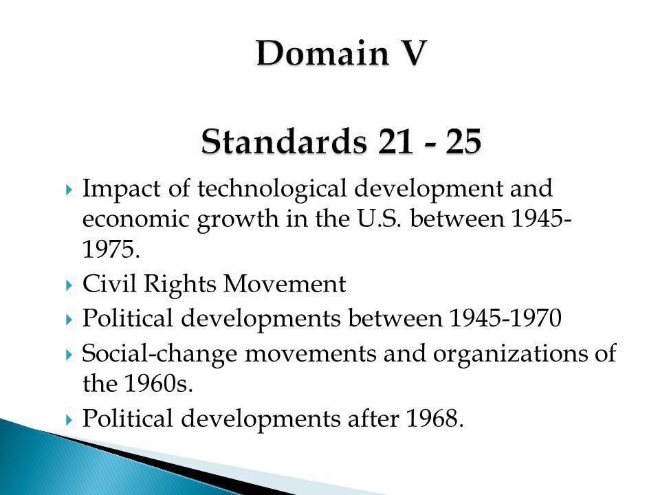  Impact of technological development and economic growth in the U.S. between 1945- 1975.  Civil Rights Movement  Political developments between 194