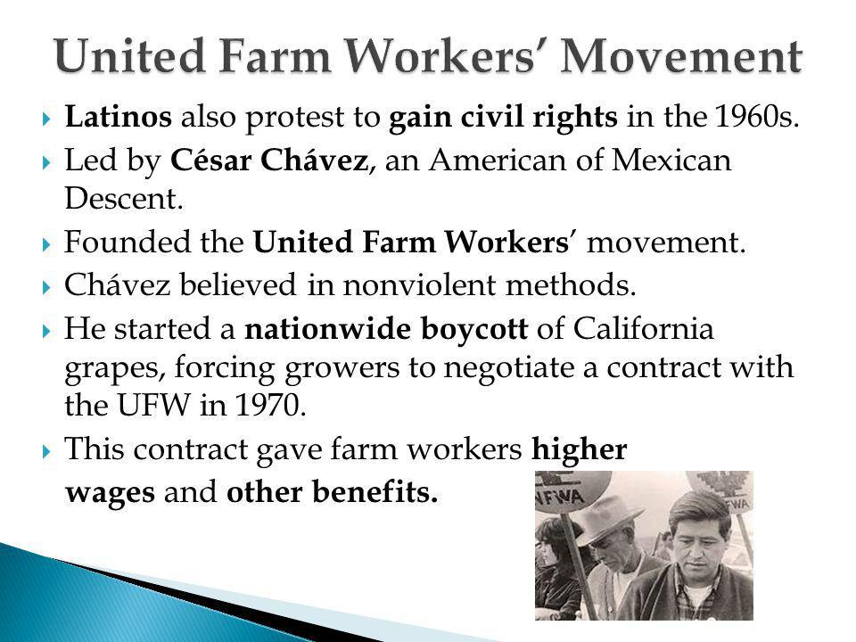  Latinos also protest to gain civil rights in the 1960s.  Led by César Chávez, an American of Mexican Descent.  Founded the United Farm Workers ' m