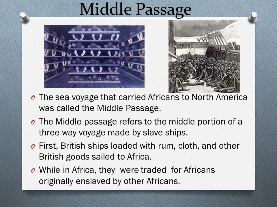 African Colonial Population O As employment opportunities increased in England, fewer indentured servants came to America O Transatlantic trade included stops along the African coast to trade rum (from New England) and guns and manufactured goods (from England) in exchange for slaves O Slaves were taken to the West Indies and various parts of North America in the Middle Passage of the transatlantic trade