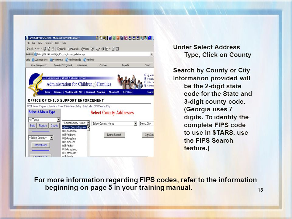 17 To obtain information on FIPS codes sign on as a State User.
