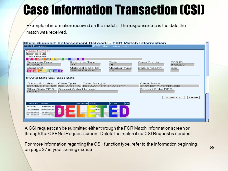 54 Case Information Transaction (CSI) Example of FCR Proactive Match screen showing Client and NCP names.