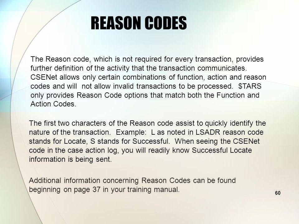 59 UNLOCKING THE CSENET CODES REASON CODE